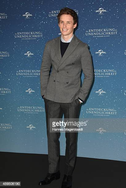 Actor Eddie Redmayne attends a photocall for the film 'The Theory of Everything' at Hotel Bayerischer Hof on November 24 2014 in Munich Germany