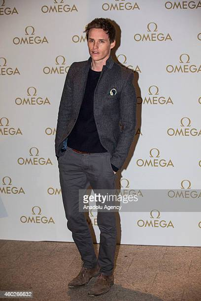 Actor Eddie Redmayne attends a private dinner celebrating the opening of the OMEGA Oxford Street boutique at Aqua Shard on December 10, 2014 in...