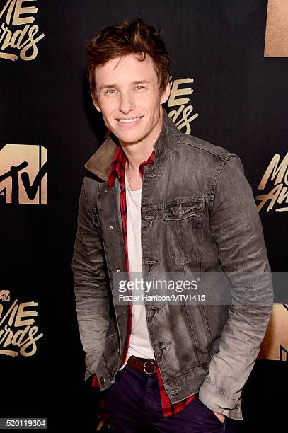 Actor Eddie Redmayne attends the 2016 MTV Movie Awards at Warner Bros Studios on April 9 2016 in Burbank California MTV Movie Awards airs April 10...