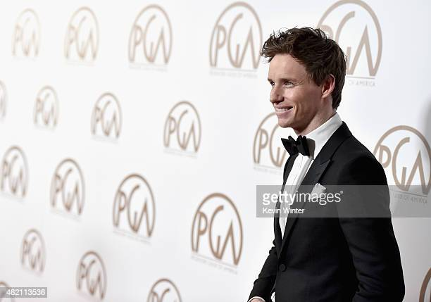 Actor Eddie Redmayne attends the 26th Annual Producers Guild Of America Awards at the Hyatt Regency Century Plaza on January 24 2015 in Los Angeles...
