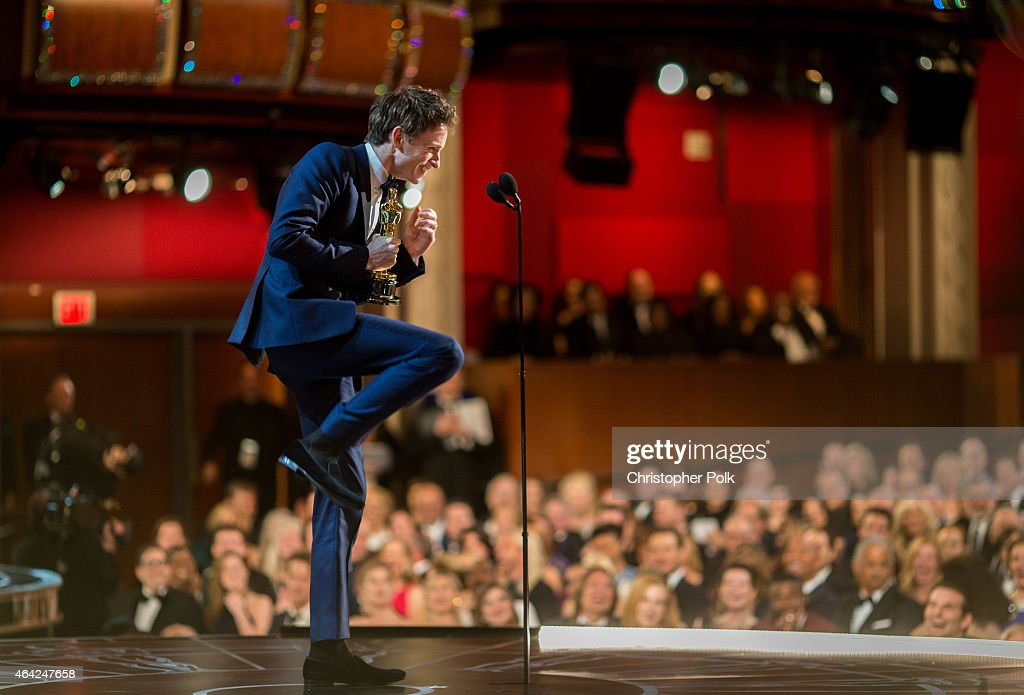Actor Eddie Redmayne speaks onstage after winning his award for best Actor in a Leading Role during the 87th Annual Academy Awards at Dolby Theatre on February 22, 2015 in Hollywood, California.