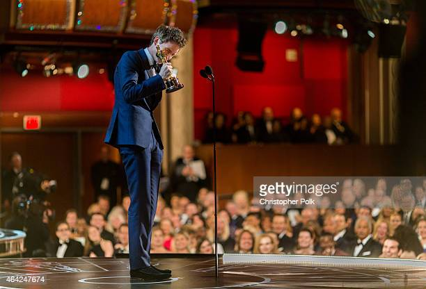 Actor Eddie Redmayne speaks onstage after winning his award for best Actor in a Leading Role during the 87th Annual Academy Awards at Dolby Theatre...