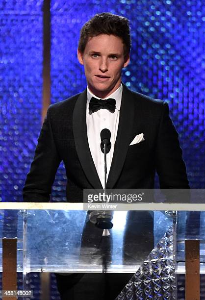 Actor Eddie Redmayne speaks onstage during the BAFTA Los Angeles Jaguar Britannia Awards presented by BBC America and United Airlines at The Beverly...