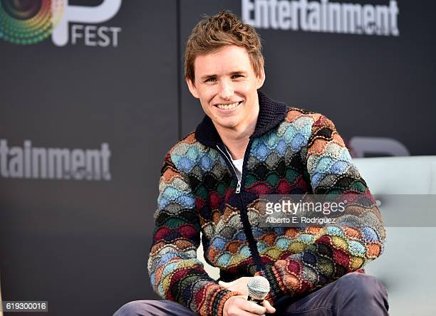 Actor Eddie Redmayne speaks onstage during the Fantastic Beasts and Where to Find Them panel at Entertainment Weekly's PopFest at The Reef on October...