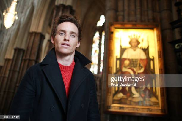Actor Eddie Redmayne stands with a portrait of Richard II on display at Westminster Abbey on November 17, 2011 in London, England. The 14th century...
