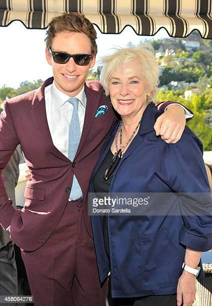 Actor Eddie Redmayne wearing Burberry and actress Betty Buckley at Eddie Redmayne Vanity Fair And Burberry Celebrate BAFTA Los Angeles and the...