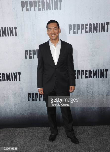 Actor Eddie Shin arrives for the Premiere Of STX Entertainment's Peppermint held at Stadium 14 on August 28 2018 in Los Angeles California