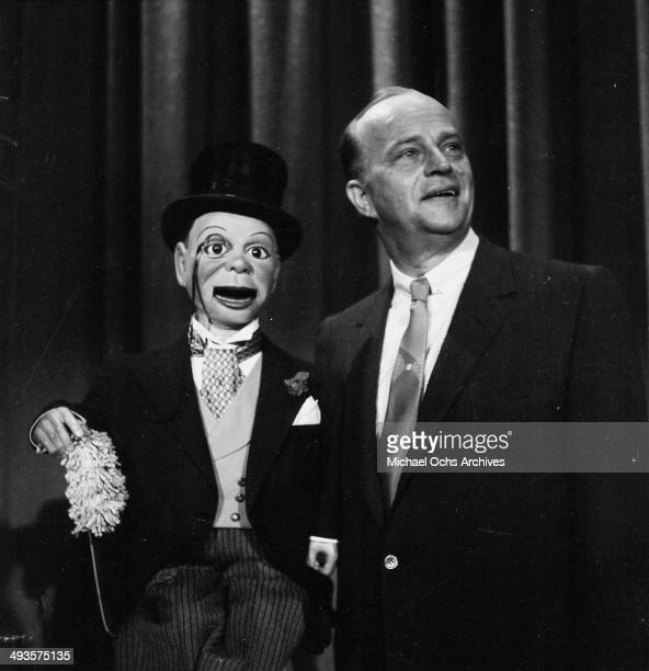 Actor Edgar Bergen with Charlie McCarthy attends a TV show taping in Los Angeles California