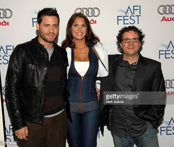 Actor Edgar Ramirez actress Jessika Grau and director Alberto Arvelo arrive to the Tribute to Laura Linney and screening of 'The Savages' during the...