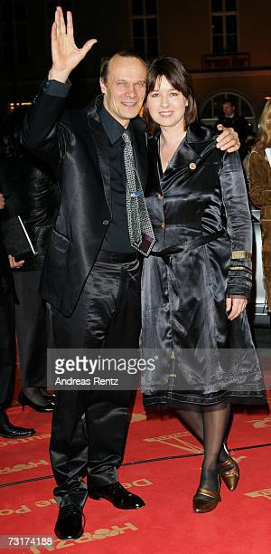 Actor Edgar Selge and his wife actress Franziska Walser arrive at the 42nd Goldene Kamera Award at the UllsteinArena on February 1 2007 in Berlin...