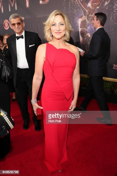 Actor Edie Falco walks the red carpet during the 69th Annual Primetime Emmy Awards at Microsoft Theater on September 17 2017 in Los Angeles California