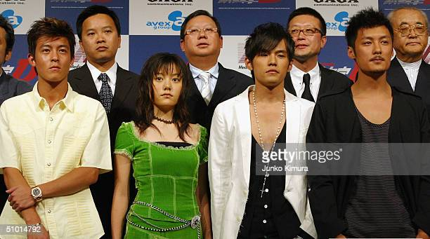 Actor Edison Chen Anne Suzuki Jay Cho and Shawn Yue attend a press conference to promote a film Initial D on July 1 2004 in Tokyo Japan Initial D is...