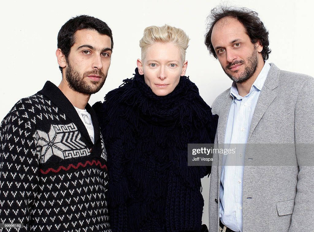 Actor Edoardo Gabbriellini, actress Tilda Swinton, and director Luca Guadagnino pose for a portrait during the 2010 Sundance Film Festival held at the WireImage Portrait Studio at The Lift on January 24, 2010 in Park City, Utah.