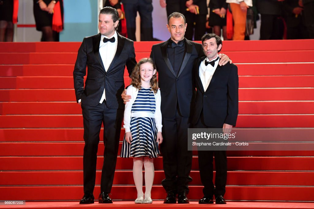 Actor Edoardo Pesce, actress Alida Baldari Calabria, director Matteo Garrone and actor Marcello Fonte attend the screening of 'Dogman' during the 71st annual Cannes Film Festival at Palais des Festivals on May 16, 2018 in Cannes, France.