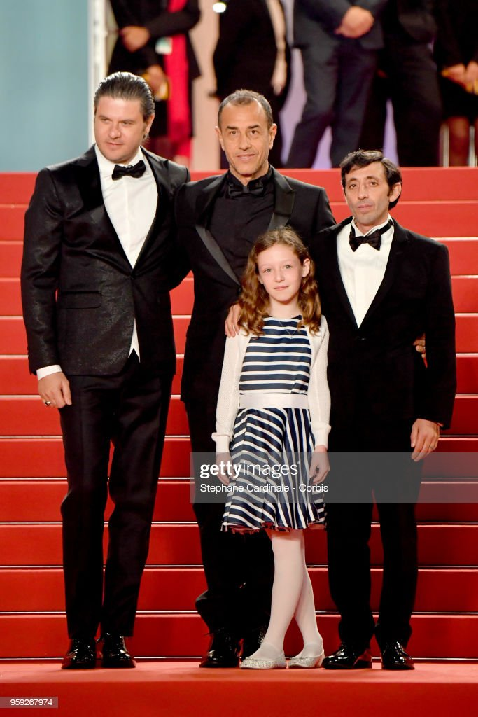 Actor Edoardo Pesce, director Matteo Garrone, actress Alida Baldari Calabria and actor Marcello Fonte attend the screening of 'Dogman' during the 71st annual Cannes Film Festival at Palais des Festivals on May 16, 2018 in Cannes, France.