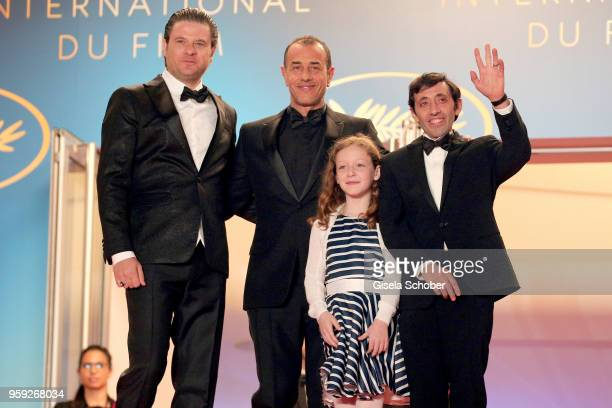 Actor Edoardo Pesce director Matteo Garrone actress Alida Baldari Calabria and actor Marcello Fonte attend the screening of 'Dogman' during the 71st...
