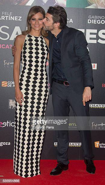 Actor Eduardo Noriega and actress Michelle Jenner attend the 'Nuestros amantes' premiere at Palafox cinema on May 30 2016 in Madrid Spain