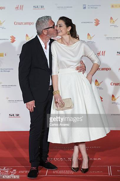 Actor Eduardo Velasco and Spanish actress Cuca Escribano attend the Requisitos Para Ser Una Persona Normal premiere at the Cervantes Theater during...