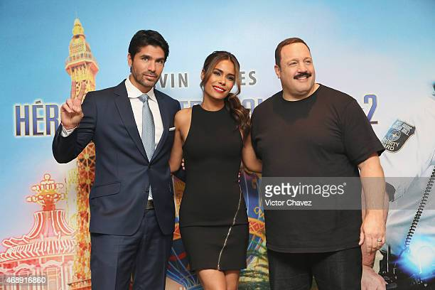 """Actor Eduardo Verastegui, actress Daniella Alonso and actor Kevin James attend a photocall to promote the film """"Paul Blart Mall Cop 2"""" at Four..."""