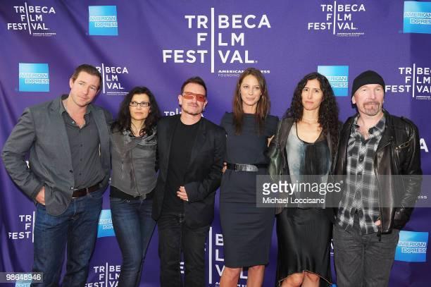 "Actor Edward Burns, Ali Hewson, musician Bono, model Christy Turlington Burns, Morleigh Steinberg and musician The Edge attend the premiere of ""No..."
