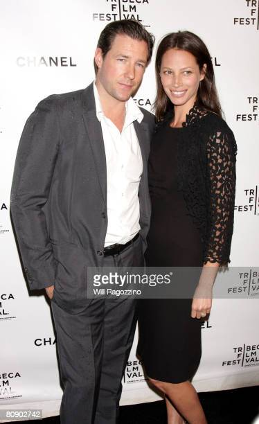 Actor Edward Burns and model Christy Turlington attend the Chanel Tribeca Film Festival Dinner held at Ago at the Greenwich Hotel during the 2008...