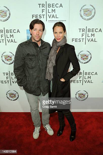 Actor Edward Burns and model Christy Turlington attend the 'Hysteria' Premiere during the 2012 Tribeca Film Festival at the BMCC Tribeca PAC on April...