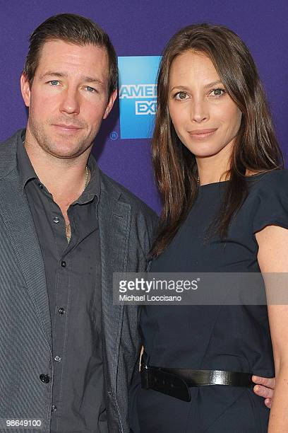 """Actor Edward Burns and model Christy Turlington Burns attend the premiere of """"No Woman No Cry"""" during the 2010 Tribeca Film Festival at Village East..."""