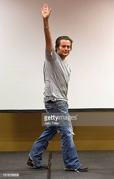 Actor Edward Furlong waves to the crowd during a QA at Horrorhound Weekend Day 2 at Marriott Indianapolis on September 8 2012 in Indianapolis Indiana