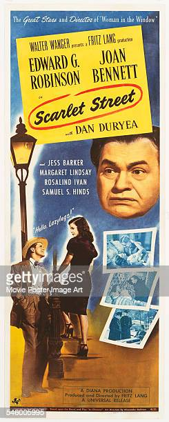 Actor Edward G Robinson appears on a poster for the film noir 'Scarlet Street' directed by Fritz Lang 1945