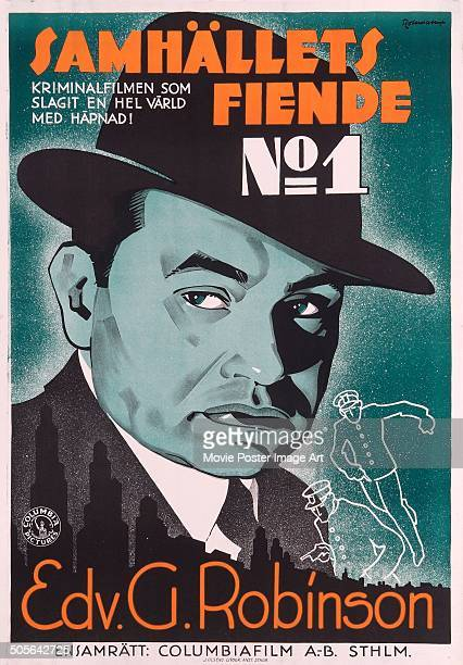 Actor Edward G Robinson features on a Swedish poster for the Columbia Pictures movie 'The Whole Town's Talking' aka 'Passport to Fame' titled...