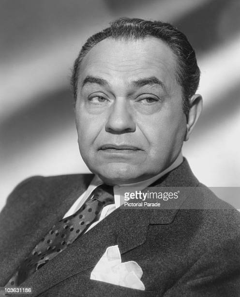 Actor Edward G Robinson pictured wearing a jacket and tie USA circa 1950