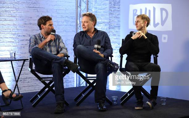 Actor Edward Holcroft, Shaun Dooley and Robert Emms from BBC Drama 'Gunpowder' during a panel discussion at BUILD London on October 20, 2017 in...