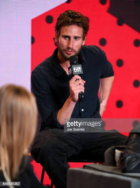 Actor Edward Holcroft speaks onstage at Alias Grace Press Conference during the 2017 Toronto International Film Festival at TIFF Bell Lightbox on...