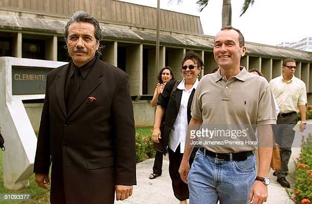 Actor Edward James Olmos Arrives At The San Juan Federal Courthouse August 10 2001 Where He's On Trial For Trespassing Charges During An AntiNavy...