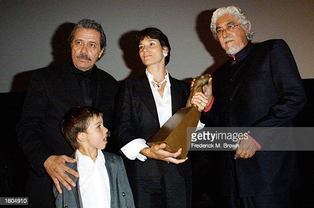 Actor Edward James Olmos left to right Ryan Quinn Katherine Quinn wife of actor Anthony Quinn and sculptor Robert Graham with the Gabriel Figueroa...