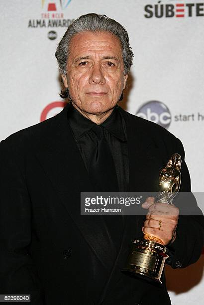 Actor Edward James Olmos poses with the Outstanding Actor in a Drama Television Series award for 'Battlestar Galactica' during the 2008 ALMA Awards...