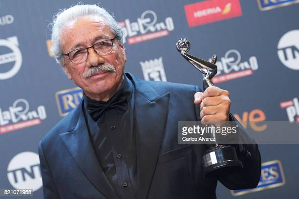 Actor Edward James Olmos receives the 'Platino de Honor' award during the 'Platino Awards 2017' at La Caja Magica on July 22 2017 in Madrid Spain