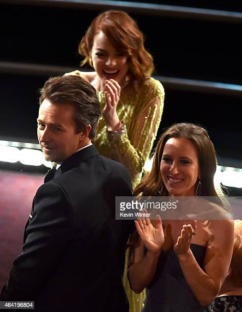Actor Edward Norton and actress Emma Stone accept the Best Picture award for 'Birdman' onstage with Shauna Robertson during the 87th Annual Academy...