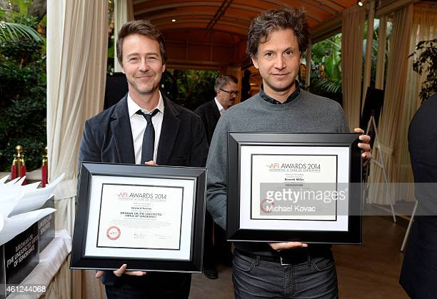 Actor Edward Norton and director Bennett Miller pose with awards at the 15th Annual AFI Awards Luncheon at Four Seasons Hotel Los Angeles at Beverly...