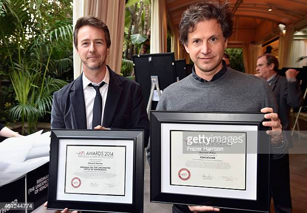 Actor Edward Norton and director Bennett Miller pose with awards during the 15th Annual AFI Awards at Four Seasons Hotel Los Angeles at Beverly Hills...