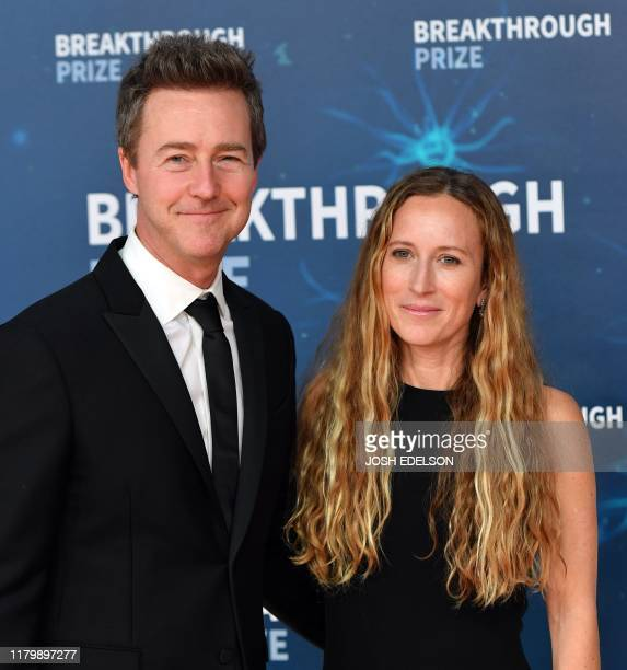 US actor Edward Norton and his wife Shauna Robertson arrive for the 8th annual Breakthrough Prize awards ceremony at NASA Ames Research Center in...
