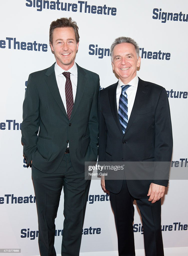 Actor Edward Norton and James Houghton attend the 2015 Signature Theatre Gala at The Signature Center on April 27, 2015 in New York City.