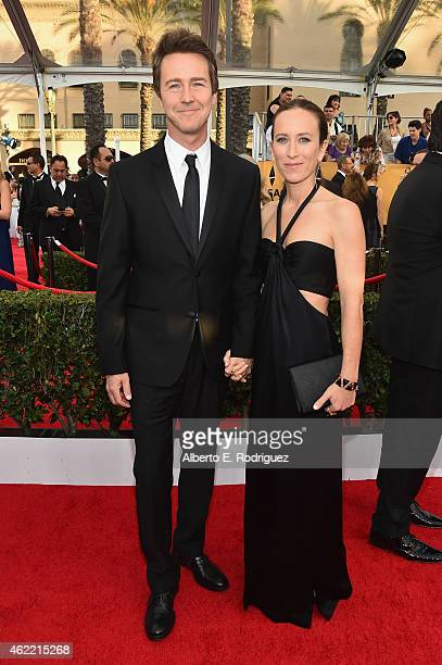 Actor Edward Norton and producer Shauna Robertson attend the 21st Annual Screen Actors Guild Awards at The Shrine Auditorium on January 25 2015 in...