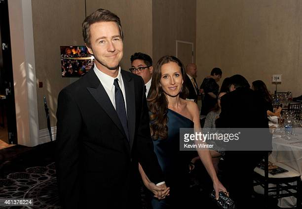Actor Edward Norton and producer Shauna Robertson attend the 72nd Annual Golden Globe Awards cocktail party at The Beverly Hilton Hotel on January 11...