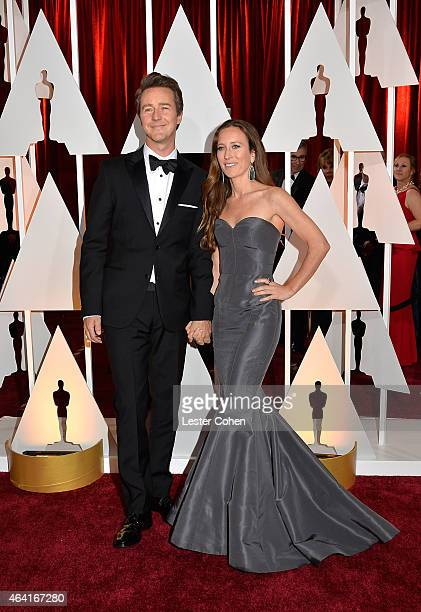 Actor Edward Norton and producer Shauna Robertson attend the 87th Annual Academy Awards at Hollywood Highland Center on February 22 2015 in Hollywood...