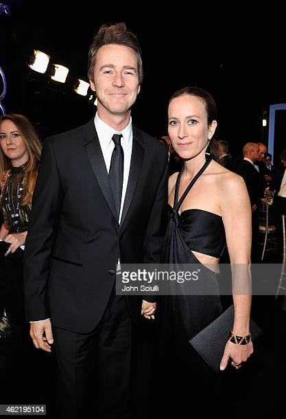 Actor Edward Norton and producer Shauna Robertson attend TNT's 21st Annual Screen Actors Guild Awards at The Shrine Auditorium on January 25, 2015 in...