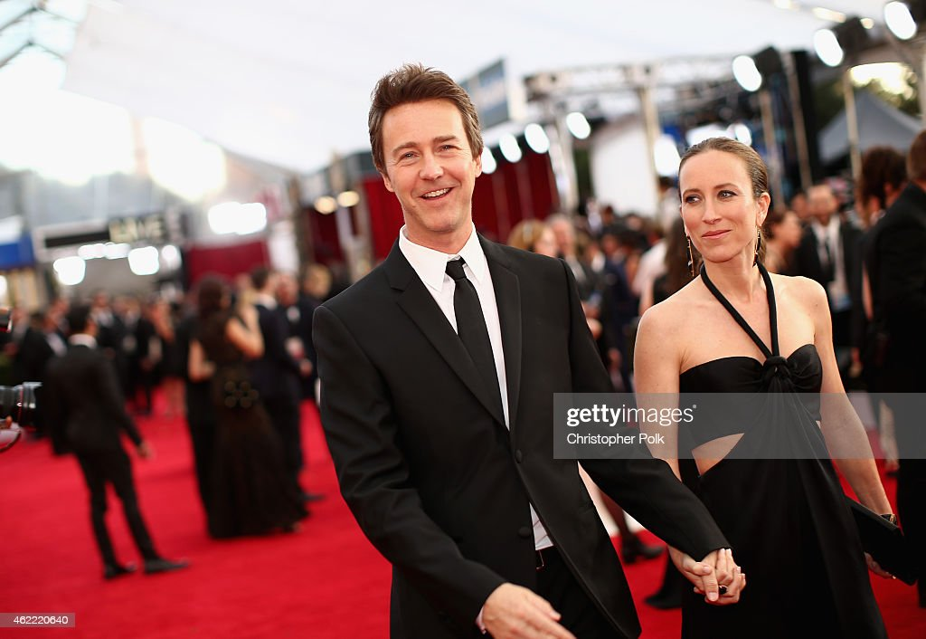 Actor Edward Norton (L) and producer Shauna Robertson attend TNT's 21st Annual Screen Actors Guild Awards at The Shrine Auditorium on January 25, 2015 in Los Angeles, California. 25184_013