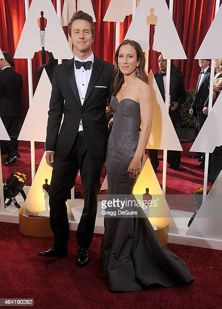Actor Edward Norton and Shauna Robertson arrive at the 87th Annual Academy Awards at Hollywood Highland Center on February 22 2015 in Hollywood...