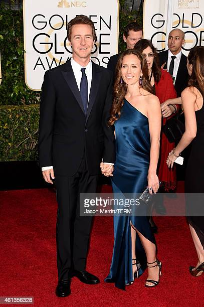 Actor Edward Norton and Shauna Robertson attend the 72nd Annual Golden Globe Awards at The Beverly Hilton Hotel on January 11 2015 in Beverly Hills...