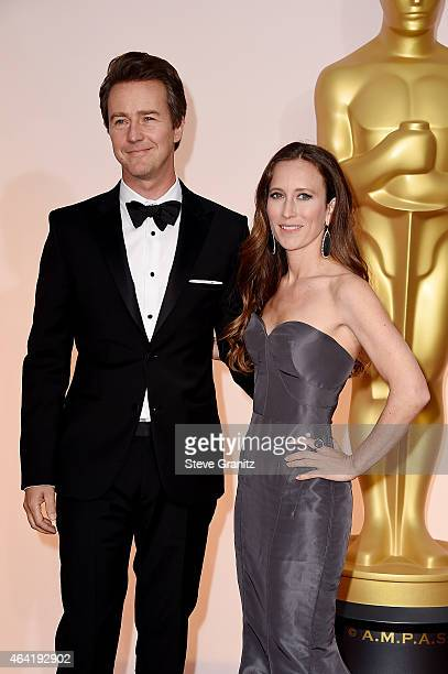 Actor Edward Norton and Shauna Robertson attend the 87th Annual Academy Awards at Hollywood Highland Center on February 22 2015 in Hollywood...